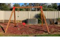 DOUBLE Swing Set Free-Standing 90 X 90 Cypress Timber (Green Metal Corners Only)