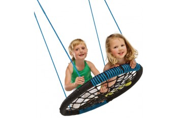 Nest Swing 'Oval' with adjustable Ropes  (sensory swing) - Black/Blue