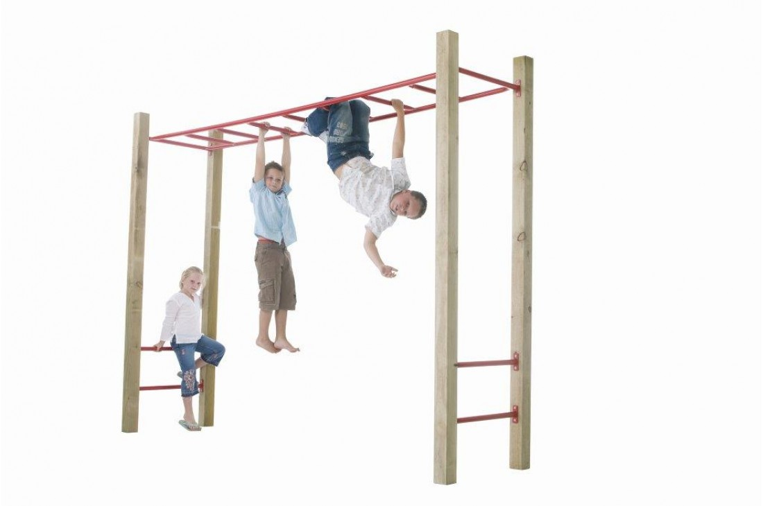 Monkey Bars Green with Timber Posts