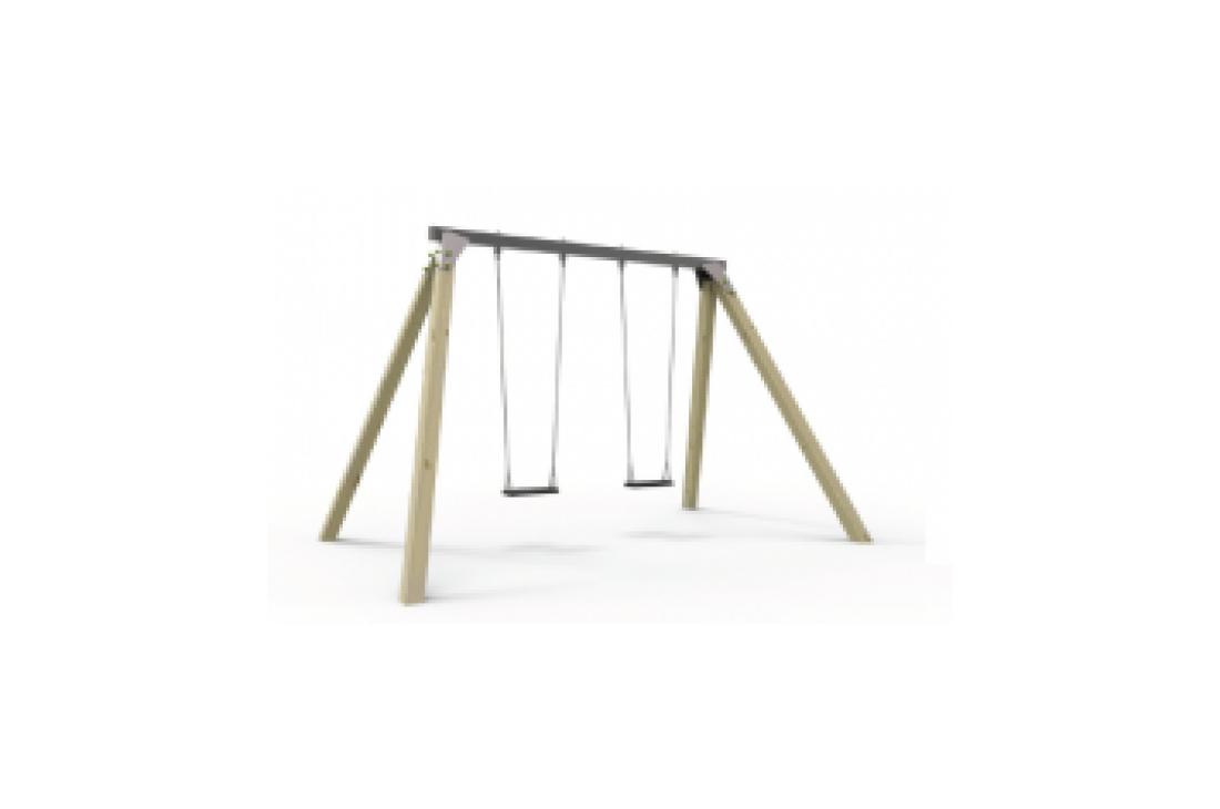 Double Swing Frame In-Ground Application STEEL top beam and TIMBER Legs (90 x 90 Cypress Timber Legs)